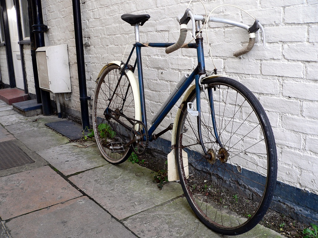 Early photo of path bike before restoration
