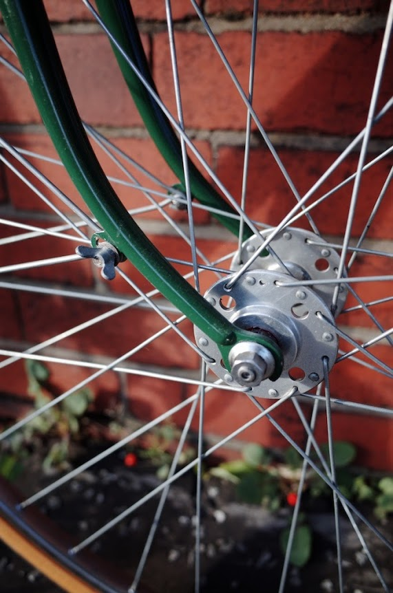Close up of forks and front hub